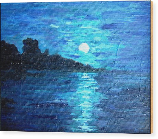 blue moon over lake couer da  lane Idaho Wood Print