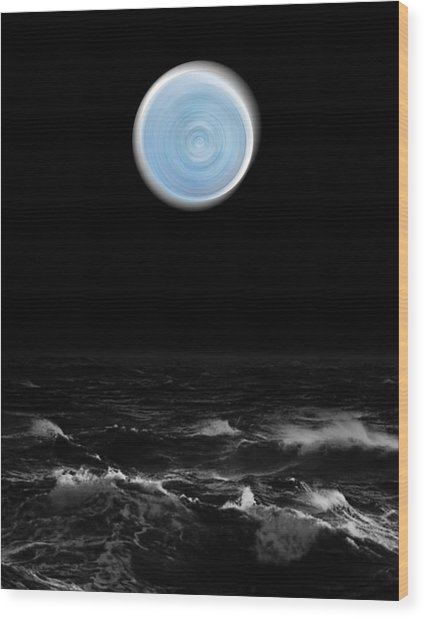 Blue Moon Over The Sea Wood Print