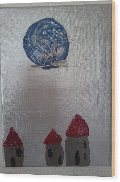 Blue Moon Red Roof Wood Print