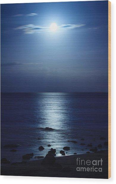 Blue Moon Rising Wood Print