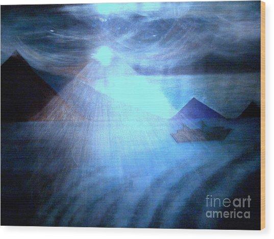 Blue Moon Sailing Wood Print