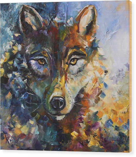 Blue Moon Wolf Wood Print