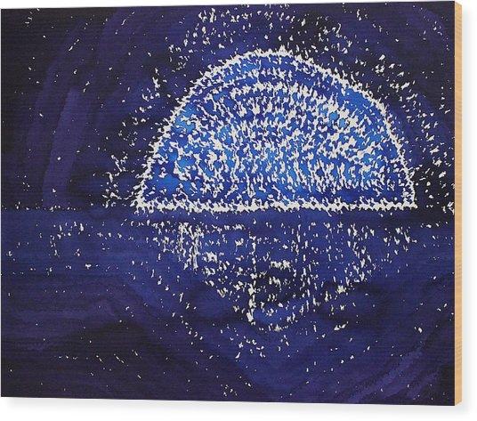 Blue Moonrise Original Painting Wood Print