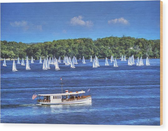 Blue Morning Cruise - Lake Geneva Wisconsin Wood Print