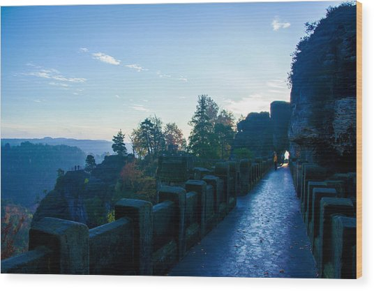 Blue Morning On The Bastei Wood Print