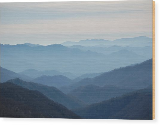 Blue Mountain Cascades Wood Print by Mary Anne Baker