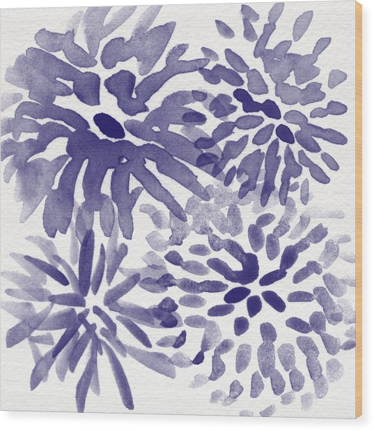 Blue Mums- Watercolor Floral Art Wood Print