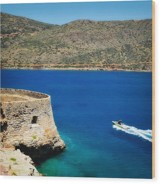 Blue Ocean And A Boat In Greece Wood Print