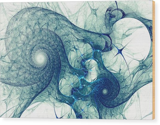 Blue Octopus Wood Print