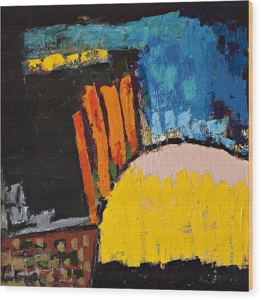 Blue Orange And Yellow Abstract Wood Print by Maggis Art