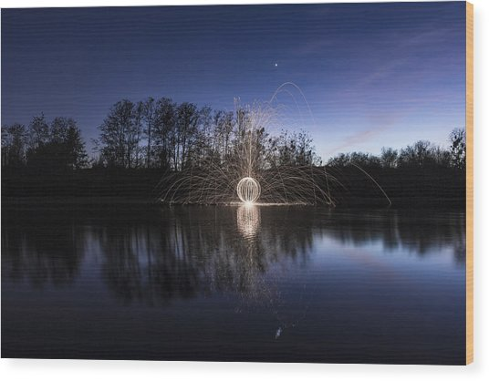 Blue Orb Reflection Wood Print