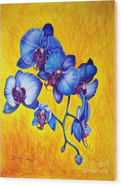 Blue Orchids 1 Wood Print