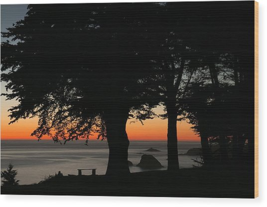 Blue Pacific At Sunset Wood Print