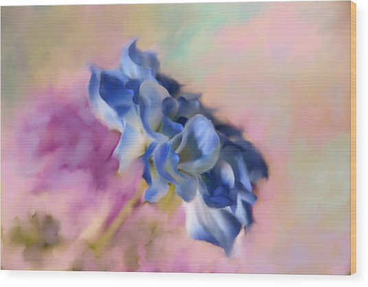Blue Painted Flower Wood Print