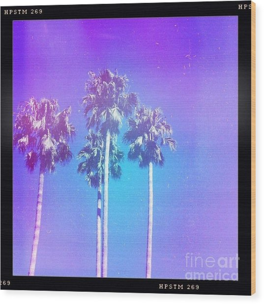 Blue Palms Wood Print