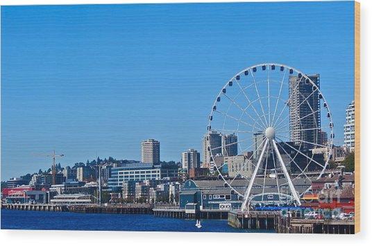 Blue Pier  Wood Print