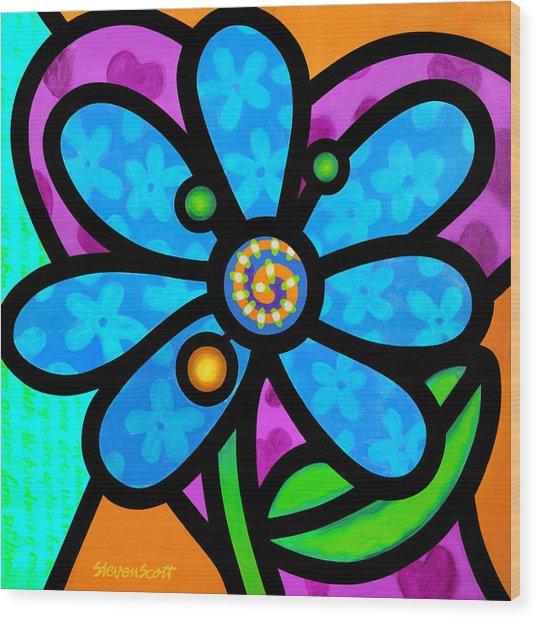 Blue Pinwheel Daisy Wood Print