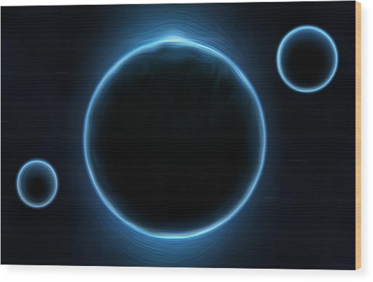 Blue Planets Wood Print by Nathan Clepper