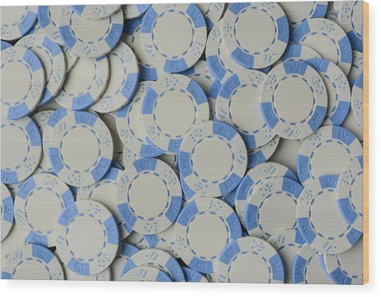Blue Poker Chip Background Wood Print