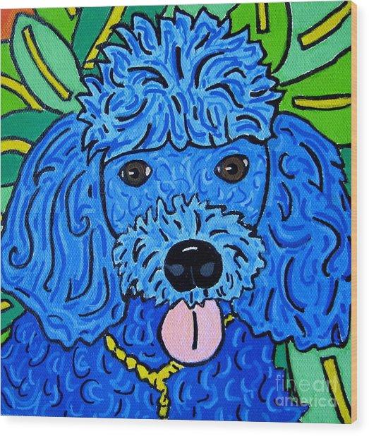 Blue Poodle Wood Print by Susan Sorrell