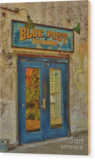 Blue Post Billiards Wood Print