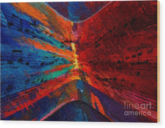 Blue Red Intermezzo Wood Print
