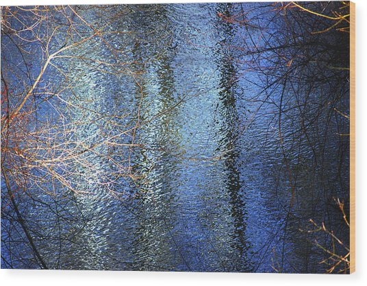 Blue Reflections Of The Patapsco River Wood Print