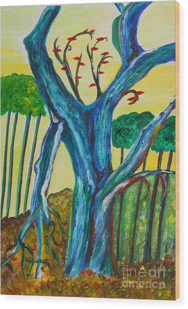 Blue Remembered Tree Wood Print