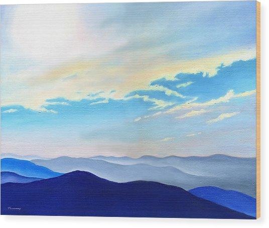 Blue Ridge Blue Above Wood Print