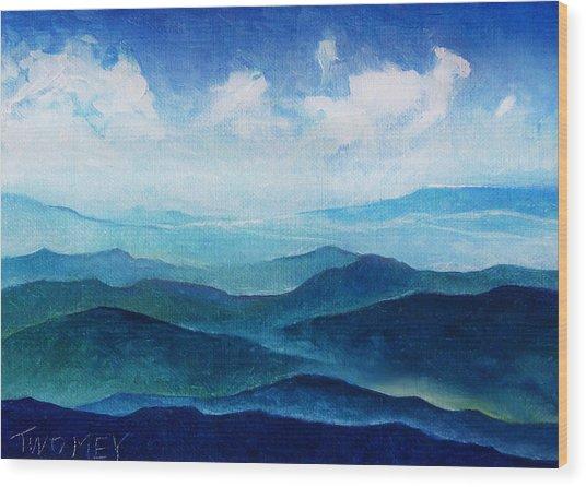 Blue Ridge Blue Skyline Sheep Cloud Wood Print