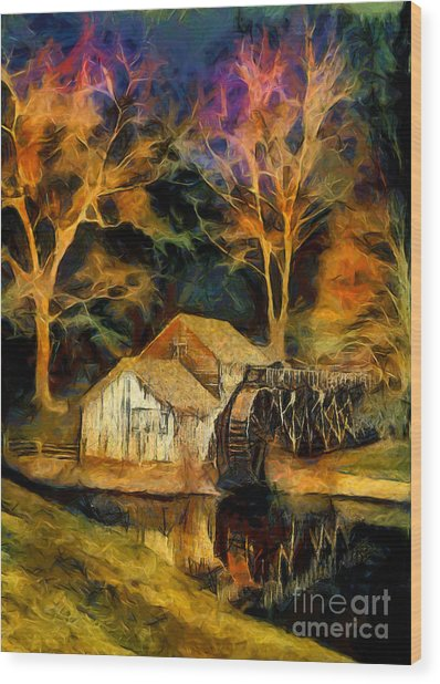 Blue Ridge - Mabry Mill Painted At Night II Wood Print by Dan Carmichael