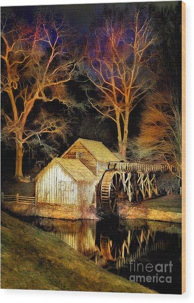 Blue Ridge - Mabry Mill Painted At Night IIi Wood Print by Dan Carmichael