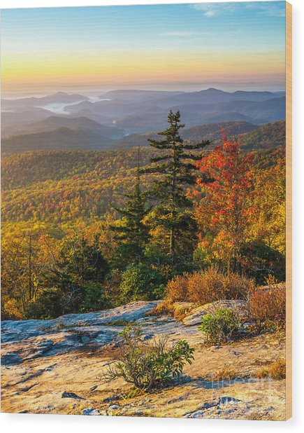 Blue Ridge Morning Wood Print