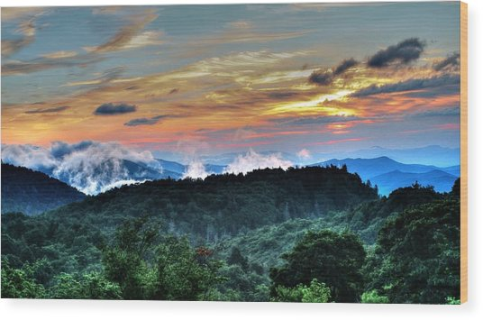 Blue Ridge Mountain Sunrise  Wood Print