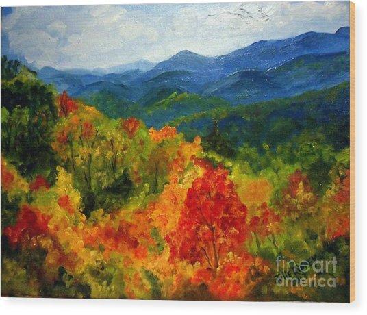 Blue Ridge Mountains In Fall Wood Print
