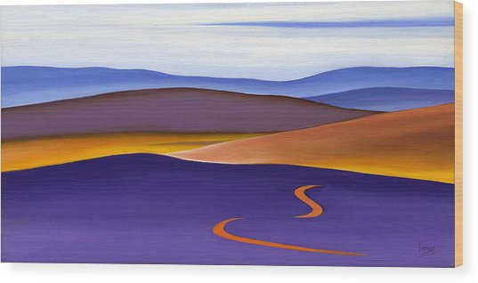 Blue Ridge Orange Mountains Sky And Road In Fall Wood Print