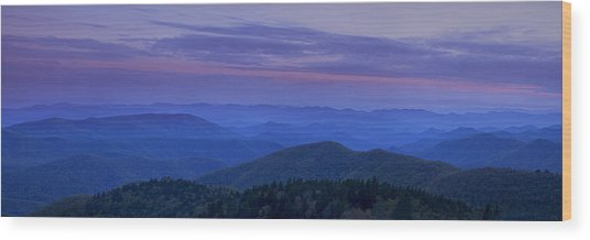 Blue Ridge Panorama At Dusk Wood Print