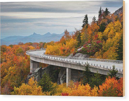 Blue Ridge Parkway Fall Foliage Linn Cove Viaduct Wood Print