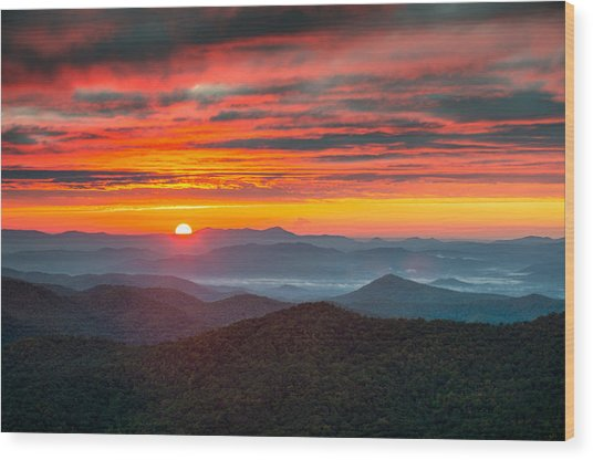 North Carolina Blue Ridge Parkway Nc Autumn Sunrise Wood Print by Dave Allen