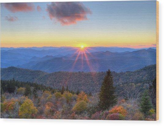Blue Ridge Parkway Nightfall Serenity Wood Print by Mary Anne Baker