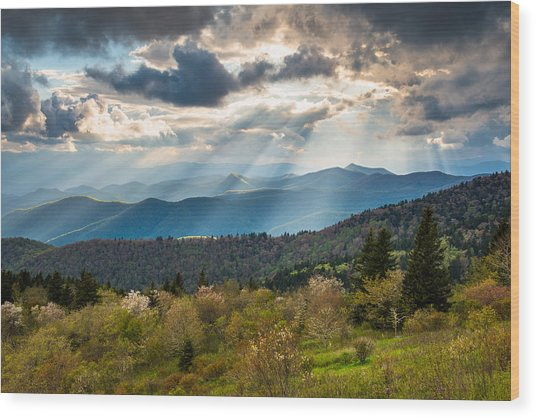 Blue Ridge Parkway North Carolina Mountains Gods Country Wood Print