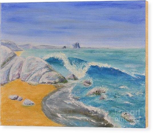 Blue Rocks Wood Print