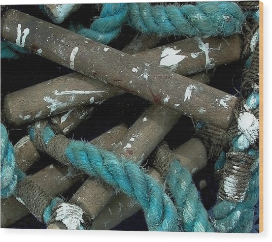 Blue Rope  Wood Print by Bill Marder