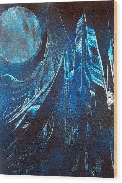 Blue Satin Wood Print