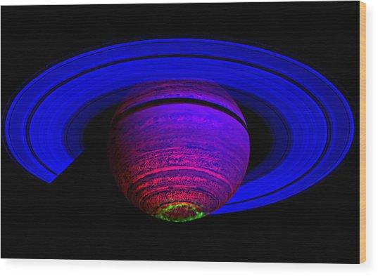 Blue Saturn 1 Wood Print by Renee Anderson
