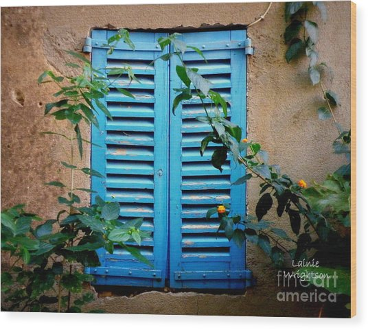 Blue Shuttered Window Wood Print