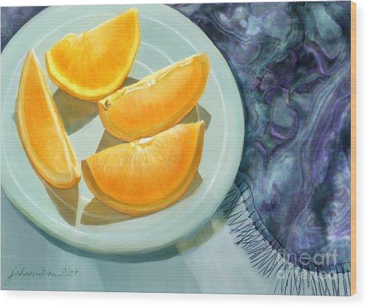 Blue Silk And Oranges Wood Print by Joan A Hamilton