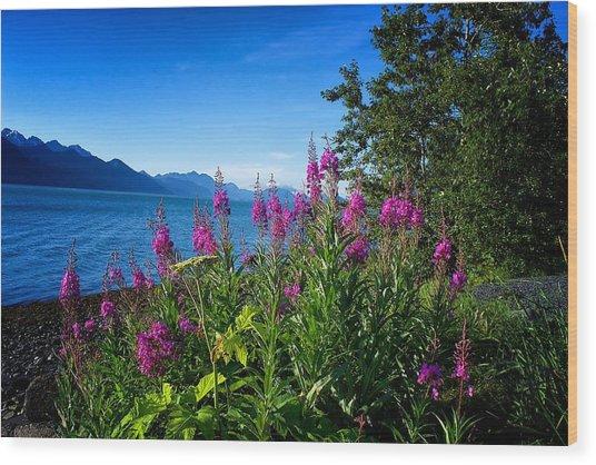Blue Skies Seward Alaska Wood Print