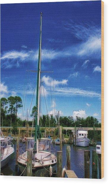 Blue Sky Wood Print by Barry Jones