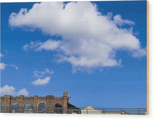 Blue Sky Bricks Wood Print by Frank Winters